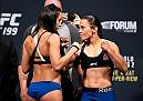 INGLEWOOD, CA - JUNE 03:   (L-R) Opponents Jessica Penne and Jessica Andrade of Brazil face off during the UFC 199 weigh-in at the Forum on June 3, 2016 in Inglewood, California. (Photo by Josh Hedges/Zuffa LLC/Zuffa LLC via Getty Images)