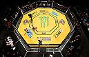 LAS VEGAS, NV - JULY 09: An overhead view of the Octagon as TJ Dillashaw kicks Raphael Assuncao of Brazil during the UFC 200 event on July 9, 2016 at T-Mobile Arena in Las Vegas, Nevada.  (Photo by Zuffa LLC/Zuffa LLC via Getty Images) *** Local Caption *** TJ Dillashaw; Raphael Assuncao