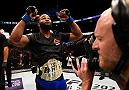 ATLANTA, GA - JULY 30:  Tyron Woodley celebrates his knockout victory over Robbie Lawler in their welterweight championship bout during the UFC 201 event on July 30, 2016 at Philips Arena in Atlanta, Georgia. (Photo by Jeff Bottari/Zuffa LLC/Zuffa LLC via Getty Images)