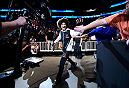 SALT LAKE CITY, UT - AUGUST 06:  Alex Caceres prepares to enter the Octagon before facing Yair Rodriguez of Mexico in their featherweight bout during the UFC Fight Night event at Vivint Smart Home Arena on August 6, 2016 in Salt Lake City, Utah. (Photo by Jeff Bottari/Zuffa LLC/Zuffa LLC via Getty Images)