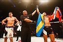 HAMBURG, GERMANY - SEPTEMBER 03:  Jack Hermansson (R) of Sweden celebrates his victory over Scott Askham (L) of England compete in their Middleweight Bout during the UFC Fight Night held at Barclaycard Arena on September 3, 2016 in Hamburg, Germany.  (Photo by Dean Mouhtaropoulos/Zuffa LLC/Zuffa LLC via Getty Images)