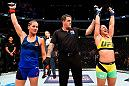 CLEVELAND, OH - SEPTEMBER 10:  (R-L) Bethe Correia of Brazil celebrates after defeating Jessica Eye in their women's bantamweight bout during the UFC 203 event at Quicken Loans Arena on September 10, 2016 in Cleveland, Ohio. (Photo by Josh Hedges/Zuffa LLC/Zuffa LLC via Getty Images)