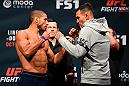 PORTLAND, OR - SEPTEMBER 30:  (L-R) Hacran Dias of Brazil and Andre Fili face-off during the UFC Fight Night weigh-in at the Oregon Convention Center on September 30, 2016 in Portland, Oregon. (Photo by Josh Hedges/Zuffa LLC/Zuffa LLC via Getty Images)