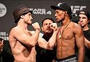 MANCHESTER, ENGLAND - OCTOBER 07:  (L-R) Brad Pickett and Iuri Alcantara of Brazil face-off during the UFC 204 weigh-in at the Manchester Central Convention Complex on October 7, 2016 in Manchester, England. (Photo by Josh Hedges/Zuffa LLC/Zuffa LLC via Getty Images)