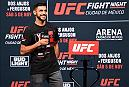 MEXICO CITY, MEXICO - NOVEMBER 04:  UFC featherweight Yair Rodriguez of Mexico interacts with fans during a Q&A session  before the UFC weigh-in at the Arena Ciudad de Mexico on November 4, 2016 in Mexico City, Mexico. (Photo by Jeff Bottari/Zuffa LLC/Zuffa LLC via Getty Images)