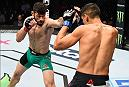 MEXICO CITY, MEXICO - NOVEMBER 05:  (L-R) Marco Polo Reyes of Mexico punches Jason Novelli of the United States in their lightweight bout during the UFC Fight Night event at Arena Ciudad de Mexico on November 5, 2016 in Mexico City, Mexico. (Photo by Jeff Bottari/Zuffa LLC/Zuffa LLC via Getty Images)