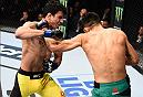 MEXICO CITY, MEXICO - NOVEMBER 05:  (R-L) Erik Perez of Mexico punches Felipe Arantes of Brazil in their bantamweight bout during the UFC Fight Night event at Arena Ciudad de Mexico on November 5, 2016 in Mexico City, Mexico. (Photo by Jeff Bottari/Zuffa LLC/Zuffa LLC via Getty Images)