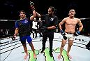 MEXICO CITY, MEXICO - NOVEMBER 05:  (R-L) Beneil Dariush of Iran celebrates his victory over Rashid Magomedov of Russia in their lightweight bout during the UFC Fight Night event at Arena Ciudad de Mexico on November 5, 2016 in Mexico City, Mexico. (Photo by Jeff Bottari/Zuffa LLC/Zuffa LLC via Getty Images)