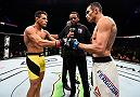 MEXICO CITY, MEXICO - NOVEMBER 05:  (R-L) Tony Ferguson of the United States and Rafael Dos Anjos of Brazil touch gloves in their lightweight bout during the UFC Fight Night event at Arena Ciudad de Mexico on November 5, 2016 in Mexico City, Mexico. (Photo by Jeff Bottari/Zuffa LLC/Zuffa LLC via Getty Images)