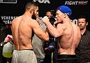 DENVER, COLORADO - JANUARY 27:  (L-R) Jason Gonzalez and J.C. Cottrell face off during the UFC Fight Night weigh-in at the Pepsi Center on January 27, 2017 in Denver, Colorado. (Photo by Josh Hedges/Zuffa LLC/Zuffa LLC via Getty Images)