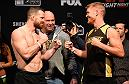 DENVER, COLORADO - JANUARY 27:  (L-R) Nate Marquardt and Sam Alvey face off during the UFC Fight Night weigh-in at the Pepsi Center on January 27, 2017 in Denver, Colorado. (Photo by Josh Hedges/Zuffa LLC/Zuffa LLC via Getty Images)