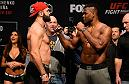 DENVER, COLORADO - JANUARY 27:  (L-R) Andrei Arlovski of Belarus and Francis Ngannou of Cameroon face off during the UFC Fight Night weigh-in at the Pepsi Center on January 27, 2017 in Denver, Colorado. (Photo by Josh Hedges/Zuffa LLC/Zuffa LLC via Getty Images)