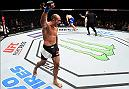 HOUSTON, TX - FEBRUARY 04:  (L-R) Marcel Fortuna of Brazil celebrates his knockout victory over Anthony Hamilton in their heavyweight bout during the UFC Fight Night event at the Toyota Center on February 4, 2017 in Houston, Texas. (Photo by Jeff Bottari/Zuffa LLC/Zuffa LLC via Getty Images)