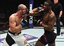 HOUSTON, TX - FEBRUARY 04:  (L-R) Volkan Oezdemir of Switzerland punches Ovince Saint Preux in their light heavyweight bout during the UFC Fight Night event at the Toyota Center on February 4, 2017 in Houston, Texas. (Photo by Jeff Bottari/Zuffa LLC/Zuffa LLC via Getty Images)