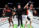 HOUSTON, TX - FEBRUARY 04:  (R-L) Volkan Oezdemir of Switzerland celebrates his victory over Ovince Saint Preux in their light heavyweight bout during the UFC Fight Night event at the Toyota Center on February 4, 2017 in Houston, Texas. (Photo by Jeff Bottari/Zuffa LLC/Zuffa LLC via Getty Images)