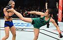 HOUSTON, TX - FEBRUARY 04:  (R-L) Alexa Grasso of Mexico kicks Felice Herrig in their women's strawweight bout during the UFC Fight Night event at the Toyota Center on February 4, 2017 in Houston, Texas. (Photo by Jeff Bottari/Zuffa LLC/Zuffa LLC via Getty Images)