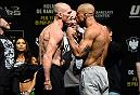 BROOKLYN, NEW YORK - FEBRUARY 10:  (L-R) Ryan LaFlare and Roan Carneiro of Brazil face off during the UFC 208 weigh-in inside Kings Theater on February 10, 2017 in Brooklyn, New York. (Photo by Jeff Bottari/Zuffa LLC/Zuffa LLC via Getty Images)