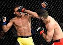 HALIFAX, NS - FEBRUARY 19:  (R-L) Aiemann Zahabi of Canada punches Reginaldo Vieira of Brazil in their bantamweight fight during the UFC Fight Night event inside the Scotiabank Centre on February 19, 2017 in Halifax, Nova Scotia, Canada. (Photo by Josh Hedges/Zuffa LLC/Zuffa LLC via Getty Images)