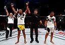 FORTALEZA, BRAZIL - MARCH 11:   Sergio Moraes of Brazil celebrates his decision victory over Davi Ramos of Brazil in their welterweight bout during the UFC Fight Night event at CFO - Centro de Forma�co Olimpica on March 11, 2017 in Fortaleza, Brazil. (Photo by Buda Mendes/Zuffa LLC/Zuffa LLC via Getty Images)