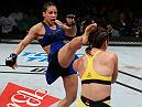 FORTALEZA, BRAZIL - MARCH 11:  (L-R) Marion Reneau kicks Bethe Correia of Brazil in their women's bantamweight bout during the UFC Fight Night event at CFO - Centro de Forma�co Olimpica on March 11, 2017 in Fortaleza, Brazil. (Photo by Buda Mendes/Zuffa LLC/Zuffa LLC via Getty Images)
