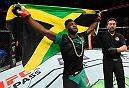 KANSAS CITY, MO - APRIL 15:  Aljamain Sterling celebrates his victory over Augusto Mendes of Brazil in their bantamweight fight during the UFC Fight Night event at Sprint Center on April 15, 2017 in Kansas City, Missouri. (Photo by Josh Hedges/Zuffa LLC/Zuffa LLC via Getty Images)