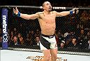 KANSAS CITY, MO - APRIL 15:  Robert Whittaker of New Zealand celebrates his TKO victory over Jacare Souza of Brazil in their middleweight fight during the UFC Fight Night event at Sprint Center on April 15, 2017 in Kansas City, Missouri. (Photo by Josh Hedges/Zuffa LLC/Zuffa LLC via Getty Images)