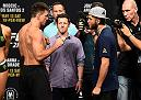 DALLAS, TX - MAY 12:  (L-R) Demian Maia of Brazil and Jorge Masvidal face off during the UFC 211 weigh-in at the American Airlines Center on May 12, 2017 in Dallas, Texas. (Photo by Josh Hedges/Zuffa LLC/Zuffa LLC via Getty Images)