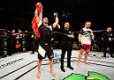 STOCKHOLM, SWEDEN - MAY 28:  (L-R) Volkan Oezdemir celebrates his knockout victory over Misha Cirkunov in their light heavyweight fight during the UFC Fight Night event at the Ericsson Globe Arena on May 28, 2017 in Stockholm, Sweden. (Photo by Jeff Bottari/Zuffa LLC/Zuffa LLC via Getty Images)