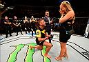 STOCKHOLM, SWEDEN - MAY 28:  Alexander Gustafsson proposes to his girlfriend Moa Antonia Johansson after his knockout victory over Glover Teixeira in their light heavyweight fight during the UFC Fight Night event at the Ericsson Globe Arena on May 28, 2017 in Stockholm, Sweden. (Photo by Jeff Bottari/Zuffa LLC/Zuffa LLC via Getty Images)