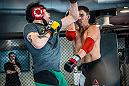 Las Vegas 3/20/18 - Flyweight Brandon Moreno of Mexico sparring with Joseph Benavidez at the UFC Performance Institute in Las Vegas in preparation for UFC 223. (Photo credit: Juan Cardenas)