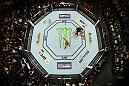 LAS VEGAS, NV - JULY 07:  An overhead view as Daniel Cormier celebrates his knockout victory over Stipe Miocic in their UFC heavyweight championship fight during the UFC 226 event inside T-Mobile Arena on July 7, 2018 in Las Vegas, Nevada.  (Photo by Josh Hedges/Zuffa LLC)