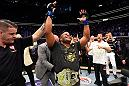 LAS VEGAS, NV - JULY 07:  Daniel Cormier celebrates his victory over Stipe Miocic in their UFC heavyweight championship fight during the UFC 226 event inside T-Mobile Arena on July 7, 2018 in Las Vegas, Nevada.  (Photo by Josh Hedges/Zuffa LLC)