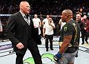 LAS VEGAS, NV - JULY 07:  Brock Lesnar confronts Daniel Cormier after his UFC heavyweight championship fight during the UFC 226 event inside T-Mobile Arena on July 7, 2018 in Las Vegas, Nevada.  (Photo by Josh Hedges/Zuffa LLC)