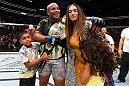 LAS VEGAS, NV - JULY 07:  Daniel Cormier celebrates with family inside the Octagon after his UFC heavyweight championship fight during the UFC 226 event inside T-Mobile Arena on July 7, 2018 in Las Vegas, Nevada.  (Photo by Josh Hedges/Zuffa LLC)