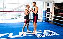 LAS VEGAS, 7/10/18 - NBA player Blake Griffin  from the Detroit Pistons faces Donald Cerrone after a training session at the UFC Perfomance Institute. (Photo credit: Juan Cardenas)