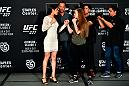 LOS ANGELES, CA - AUGUST 02:  (L-R) Opponents Polyana Viana of Brazil and JJ Aldrich face off for media during the UFC 227 Ultimate Media Day at Sheraton Grand Los Angeles on August 2, 2018 in Los Angeles, California. (Photo by Jeff Bottari/Zuffa LLC via Getty Images)