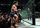 LOS ANGELES, CA - AUGUST 04:  Henry Cejudo prepares to fight Demetrious Johnson in their UFC flyweight championship fight during the UFC 227 event inside Staples Center on August 4, 2018 in Los Angeles, California. (Photo by Jeff Bottari/Zuffa LLC/Zuffa LLC via Getty Images)