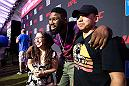 Curtis Blaydes poses for a picture with fans during the UFC's International Fight Week in Las Vegas, NV.