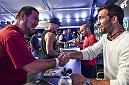 LAS VEGAS, NEVADA - JULY 06: UFC Middleweight Luke Rockhold shakes hands with a fan during the UFC Fan Experience at the Downtown Las Vegas Events Center on July 6, 2018 in Las Vegas, Nevada. (Photo by Brandon Magnus/Zuffa LLC/Zuffa LLC via Getty Images)