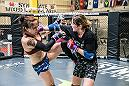 LAS VEGAS 8/9/18 - UFC Fighter Joanne Calderwood during sparring session with Jessica-Rose Clark at Syndicate MMA Gym in Las Vegas, preparing for UFC Lincoln. (Photo credit: Juan Cardenas)