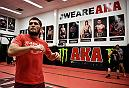 SAN JOSE, CA - AUGUST 29:  Khabib Nurmagomedov trains at American Kickboxing Academy on August 29, 2018 in San Jose, California (Photo by Brandon Magnus)