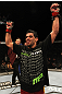 UFC 130: Renan Barao celebrates his win
