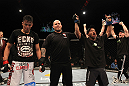UFC 130: Demetrious Johnson celebrates his win