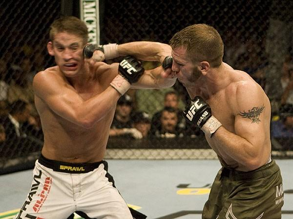 Spencer Fisher def. Sam Stout during UFC Fight Night 10 on June 12, 2007 in Hollywood, Florida. (Photo by Josh Hedges/Zuffa LLC via Getty Images)