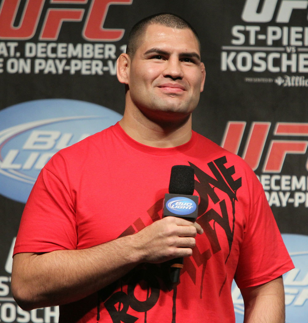 UFC 124 Weigh-in: UFC Heavyweight Champion Cain Velasquez interacts with the fans.