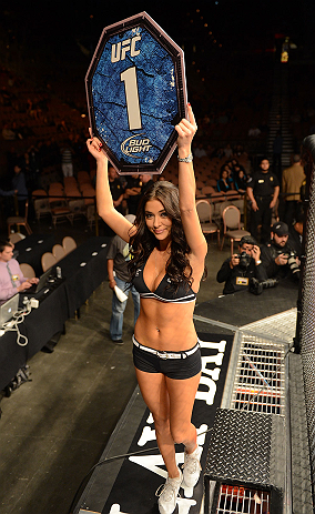 LAS VEGAS, NV - FEBRUARY 02:  UFC Octagon Girl Arianny Celeste introduces round one of Francisco Rivera and Edwin Figueroa's bantamweight fight at UFC 156 on February 2, 2013 at the Mandalay Bay Events Center in Las Vegas, Nevada.  (Photo by Donald Miralle/Zuffa LLC/Zuffa LLC via Getty Images) *** Local Caption *** Francisco Rivera; Edwin Figueroa