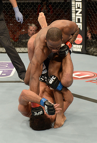 ANAHEIM, CA - FEBRUARY 23:  Nah-Shon Burrell (top) punches Yuri Villefort in their welterweight bout during UFC 157 at Honda Center on February 23, 2013 in Anaheim, California.  (Photo by Donald Miralle/Zuffa LLC/Zuffa LLC via Getty Images) *** Local Caption *** Nah-Shon Burrell; Yuri Villefort