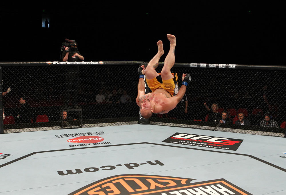 SYDNEY, AUSTRALIA - MARCH 03:  Shawn Jordan performs a back flip after knocking out Oli Thompson in a heavyweight bout during the UFC on FX event at Allphones Arena on March 3, 2012 in Sydney, Australia.  (Photo by Josh Hedges/Zuffa LLC/Zuffa LLC via Getty Images) *** Local Caption *** Shawn Jordan