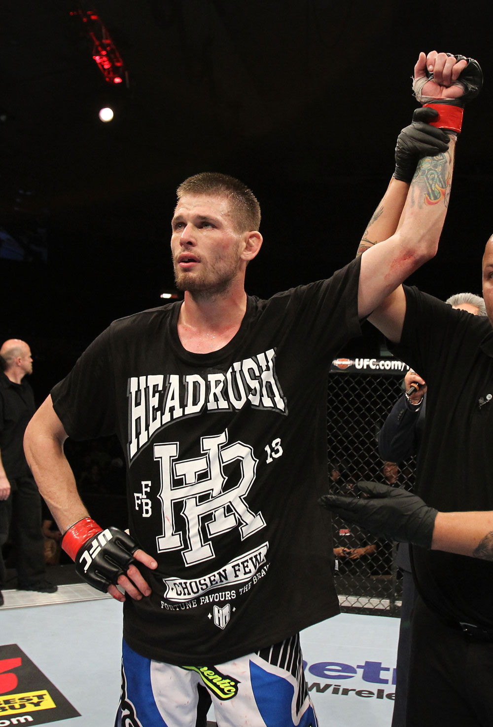 OMAHA, NE - FEBRUARY 15:  Tim Means reacts after defeating Bernardo Magalhaes during the UFC on FUEL TV event at Omaha Civic Auditorium on February 15, 2012 in Omaha, Nebraska.  (Photo by Josh Hedges/Zuffa LLC/Zuffa LLC via Getty Images) *** Local Caption *** Tim Means