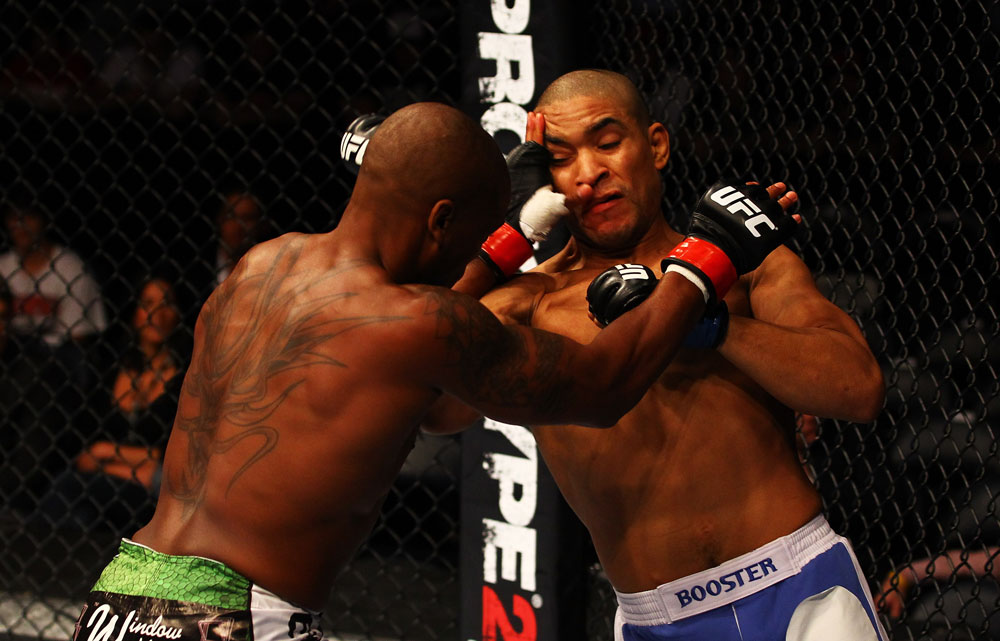 ATLANTA, GA - APRIL 21:  Marcus Brimage (L) and Maximo Blanco exchange blows during their featherweight bout for UFC 145 at Philips Arena on April 21, 2012 in Atlanta, Georgia.  (Photo by Al Bello/Zuffa LLC/Zuffa LLC via Getty Images)